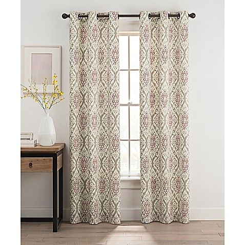 Ikat 84 Inch Grommet Top Window Curtain Panel Pair In Berry