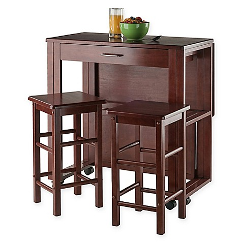 Delightful Winsome Trading 3 Piece Fremont Dining Set In Walnut