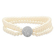 image of Piatella™ 18K White Gold-Plated Cubic Zirconia and Simulated Pearl 7-Inch Ladies' Bracelet