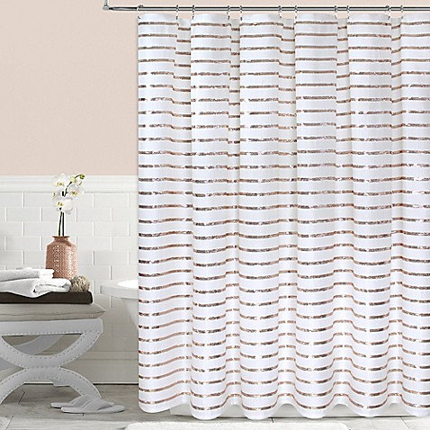 Colordrift Sequin Stripe Shower Curtain Collection - Bed Bath & Beyond
