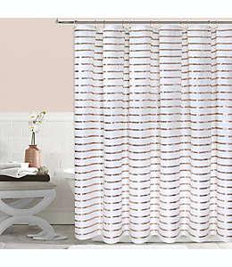 Cortina de baño de poliéster Colordrift Sequin Stripe color dorado