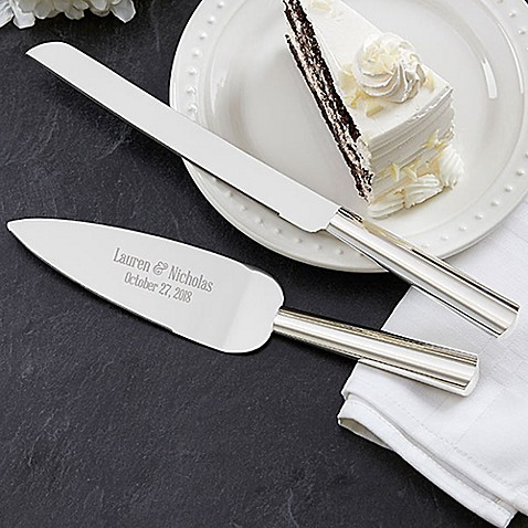 engraved wedding cake knife and server modern wedding cake knife amp server set bed bath amp beyond 3921