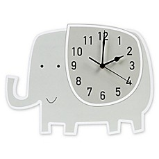 image of Trend Lab® Elephant Wall Clock in Grey/White