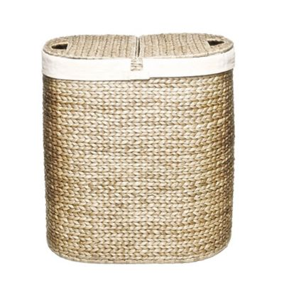 image of Seville Classics Water Hyacinth Oval Double Hamper in Tan