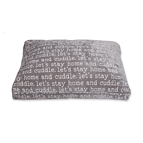 Cuddle Words 36-Inch x 27-Inch Printed Pet Bed in Grey