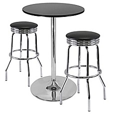 image of winsome summit 3piece pub table set in blackchrome