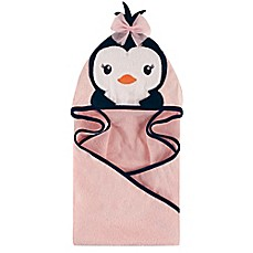 image of Hudson Baby® Miss Penguin Hooded Towel in Navy