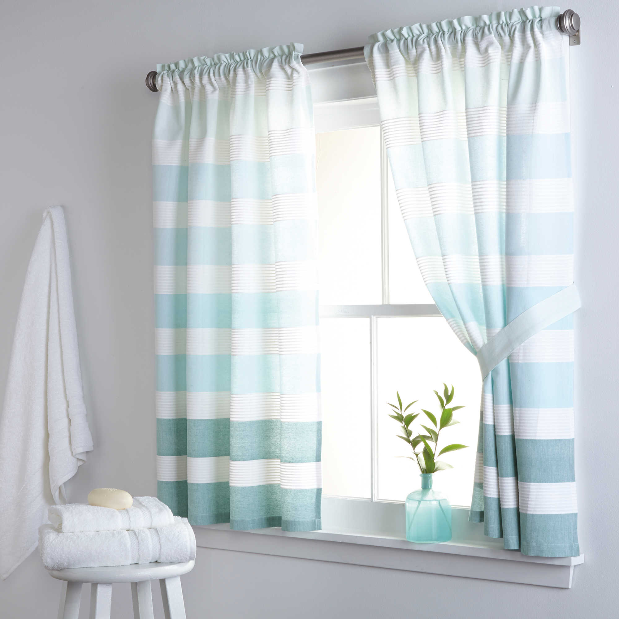 image of DKNY Highline Stripe 38-Inch x 45-Inch Cotton Bath Window Curtain
