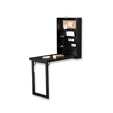 buy fold out convertible desk in black from bed bath beyond. Black Bedroom Furniture Sets. Home Design Ideas