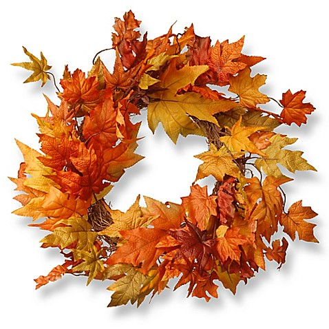 National Tree 24 Inch Maple Leaf Wreath In Orange Bed