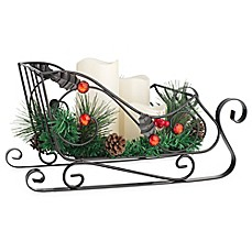 image of Home Essentials & Beyond Holiday Sleigh Candleholder with 3 LED Pillar Candles