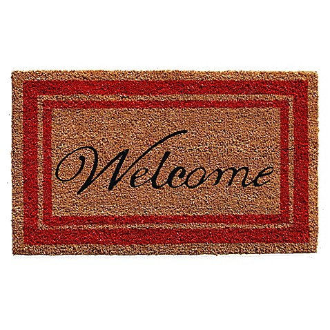Home Amp More Black Border Welcome Door Mat In Natural Bed