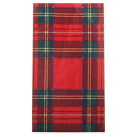 Caspari Royal Plaid 15 Count Paper Guest Towels In Red