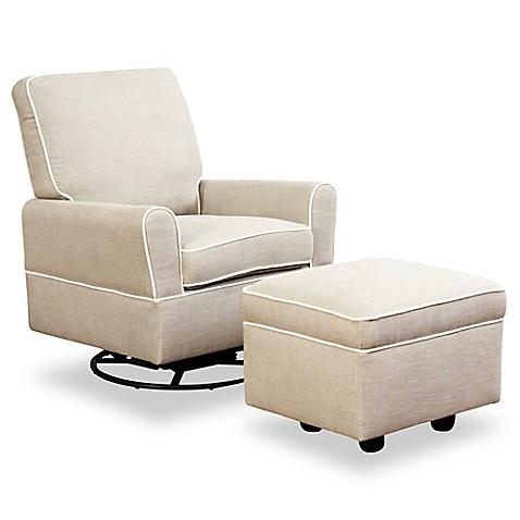 Abbyson Living Shirin Swivel Glider Chair And Ottoman Set In Grey