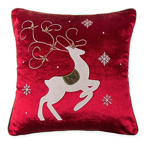 buy make your own pillow prancing reindeer square throw pillow cover in red from bed bath beyond. Black Bedroom Furniture Sets. Home Design Ideas