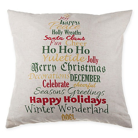 buy make your own pillow holly script square throw pillow cover in ivory from bed bath beyond. Black Bedroom Furniture Sets. Home Design Ideas
