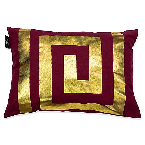Buy Kensie James Metallic Geo Oblong Throw Pillow Cover in Garnet/Gold from Bed Bath & Beyond