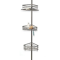 Image Of Oversized 3 Tier Pole Shower Caddy In Chromed Steel