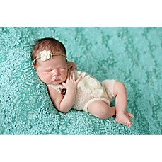 image of Tiny Blessings Boutique 2-Piece Mohair Ruffle Romper and Tie-Back Headband Set in Ivory