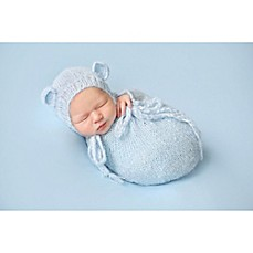 image of Tiny Blessings Boutique 2-Piece Mohair Bear Bonnet and Snuggle Sack Set in Blue