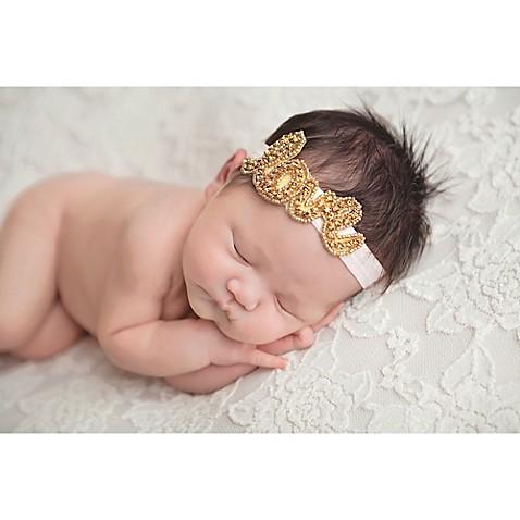 Tiny Blessings Boutique Newborn Love Rhinestone Headband in Gold ... b1c47abc119
