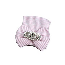 image of Tiny Blessings Boutique Newborn Striped Hat with Rhinestones in White/Pink
