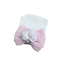 image of Tiny Blessings Boutique Newborn Striped Flower Hat in Pink/White