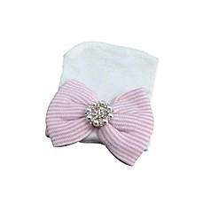 image of Tiny Blessings Boutique Newborn Bow Hat with Pearl Accent in Pink/White