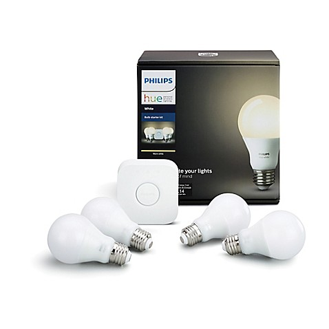 buy philips hue white a19 4 bulb starter kit from bed bath. Black Bedroom Furniture Sets. Home Design Ideas