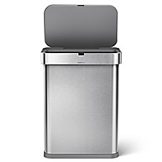 image of simplehuman 58liter rectangular voice activated trash can in stainless steel