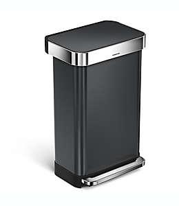 Bote de basura rectangular con pedal, Simplehuman® 45 L en negro
