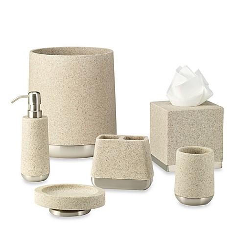 Ampersand lafayette wastebasket in taupe bed bath beyond for Bathroom wastebasket sets