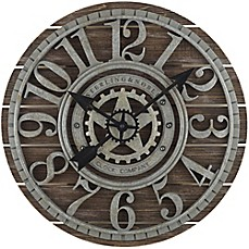 image of Sterling & Noble™ 23.5-Inch Shiplap Farmhouse Wood Wall Clock