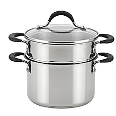 image of Circulon® Momentum™ Stainless Steel Nonstick 3 qt. Straining Saucepot with Steamer Insert