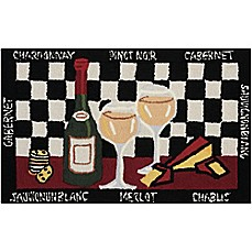 image of Nourison Everywhere 22-Inch x 54-Inch Wine Kitchen Mat in Black