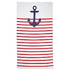 image of Nautical Stripe Beach Towel in Red/Navy