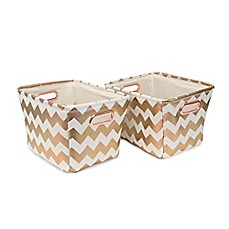 image of Closet Complete 2-Piece Chevron Tote Canvas Set in Metallic Rose Gold