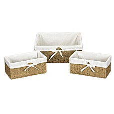 Image Of Household Essentials® Seagrass Decorative Storage Wicker Baskets  In Natural (Set Of 3