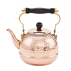 image of Old Dutch International® 2 qt. Hammered Copper Tea Kettle with Wood Handle
