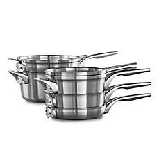 image of Calphalon® Premier™ Space Saving Stainless Steel 8-Piece Cookware Set and Open Stock