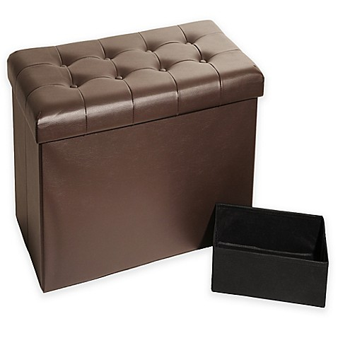 Buy Seville Classics Foldable Faux Leather Storage Bench Ottoman In Espresso From Bed Bath Beyond