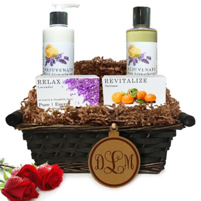 image of Pure Energy Apothecary Daily Delight Pure Aromatherapy Monogram Gift Basket