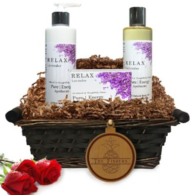 image of Pure Energy Apothecary Daily Delight Lavender Split Letter Pineapple Gift Basket