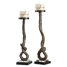 image of Uttermost Driftwood Candle Holders in Bronze (Set of 2)
