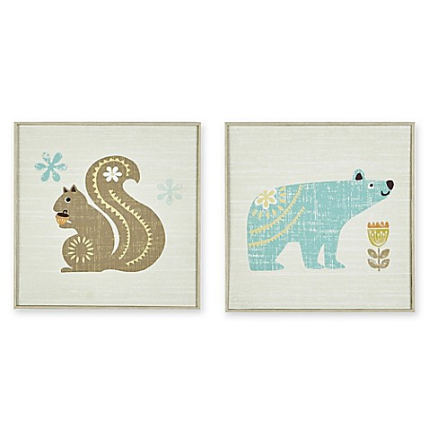 Ink ivy 2 piece woodland bear and squirrel framed wall art for Blue and brown wall art