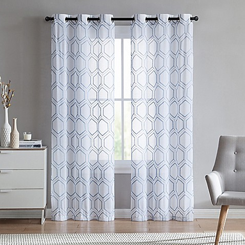 Vcny Home Empire Sheer Grommet Top Window Curtain Panel Pair Bed Bath Beyond