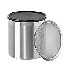 image of Oggi® 4 qt. Stainless Steel Jumbo Grease Can with Strainer and Cover