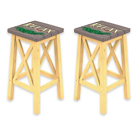Margaritaville 174 Relax Bar Stool In Grey Yellow Set Of 2
