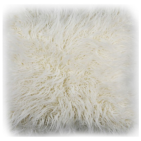 Safavieh Flokati Faux Fur 20 Inch Square Throw Pillow In Ivory
