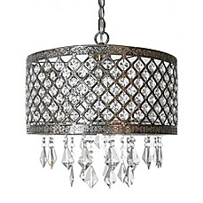 image of River of Goods 1-Light Crystal Lattice Chandelier in Silver